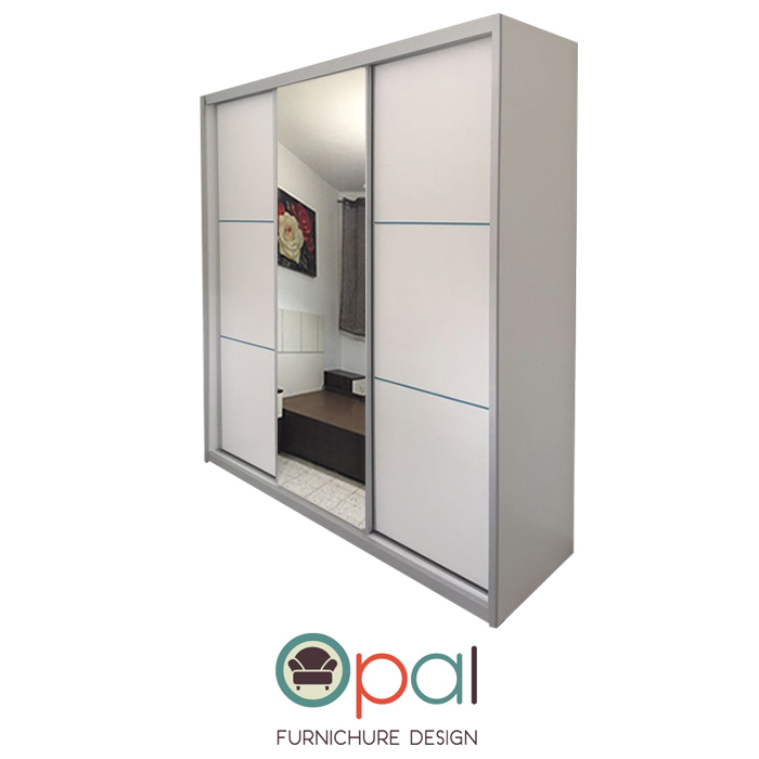 כולם חדשים ארון הזזה ענק 3 דלתות ברוחב 2.4 מטר דגם אופל עם דלת מראה ומסגרות YN-02