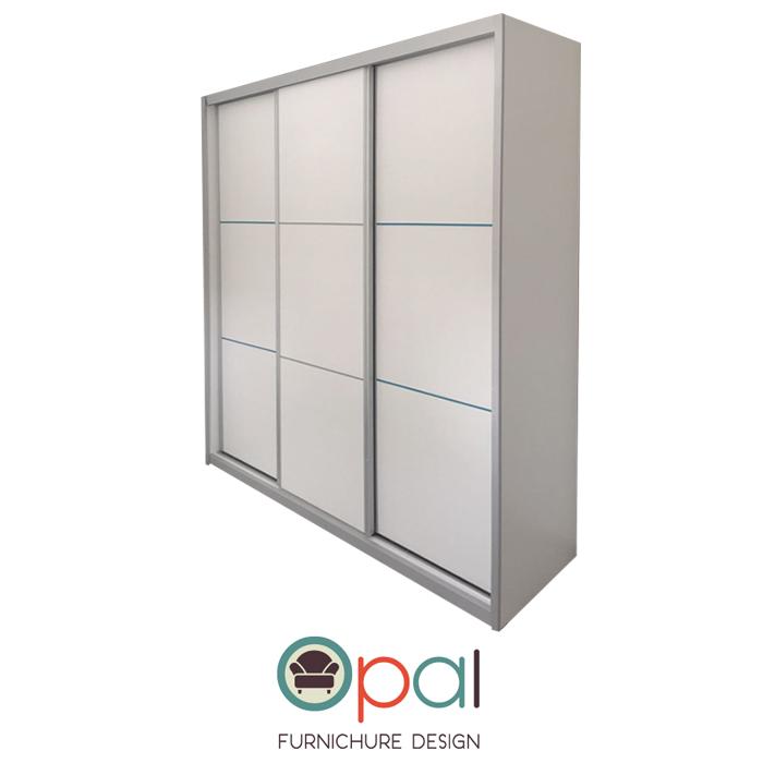 סופר ארון הזזה 3 דלתות ברוחב 2.4 מטר דגם אופל עם מסגרת אלומיניום ופסי ניקל HO-16