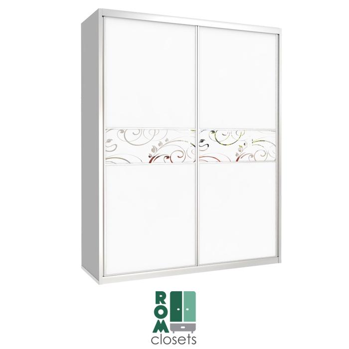 מפואר ארון הזזה קטן 2 דלתות ברוחב 1.4 מטר בשילוב הדפסה על זכוכית דגם 14212 JZ-41